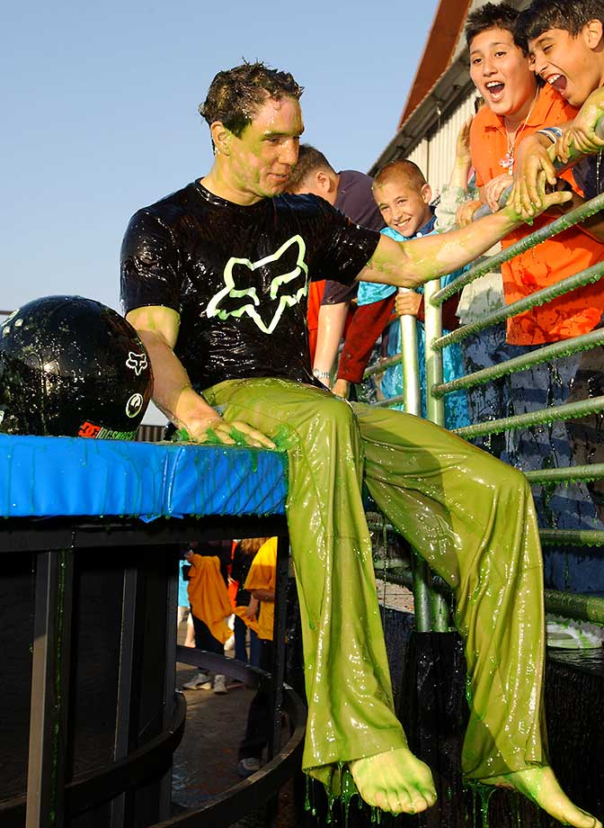 Dave Mirra after he backfliped his bike into a 4,000 gallon vat of slime on the 15th Annual Nickelodeon Kid's Choice Awards in 2002.