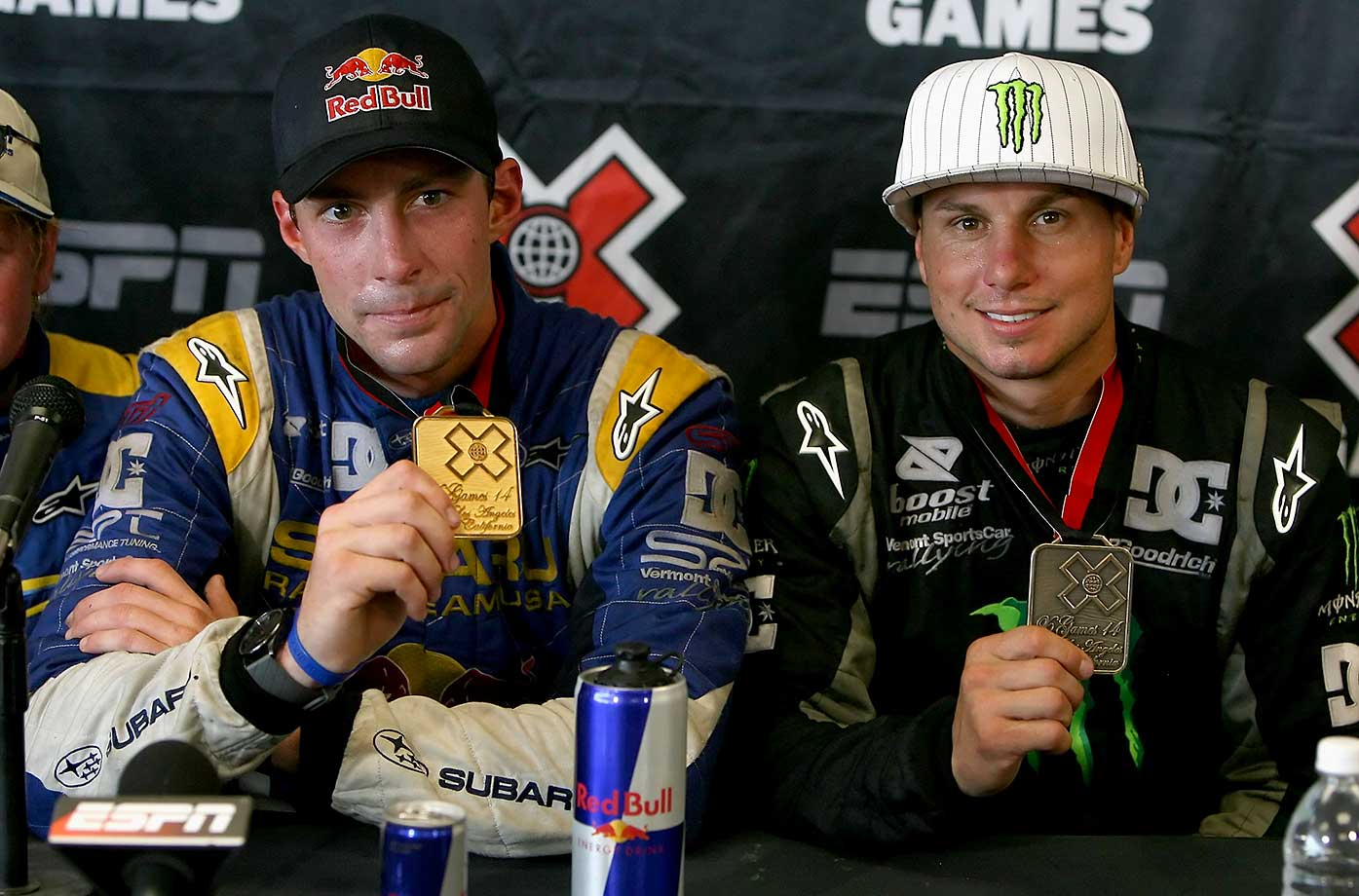 Gold medal winner Travis Pastrana and bronze medal winner Dave Mirra after the Rally Car race during the summer X Games 14 in August 2008 in Carson, Calif.