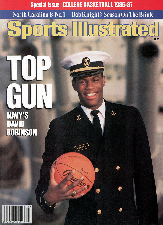 Robinson starred at the Naval Academy, winning college basketball's highest honors, the Wooden and Naismith awards, his senior year. The San Antonio Spurs selected him with the first overall pick in the 1987 NBA draft, but Robinson had to perform his two years active-duty service before he could join the team. After graduating, Robinson became a civil engineering officer at the Naval Submarine Base Kings Bay in Georgia. Robinson went on to an illustrious NBA career that saw him win two championships, one MVP and make the All-Star game 10 times.