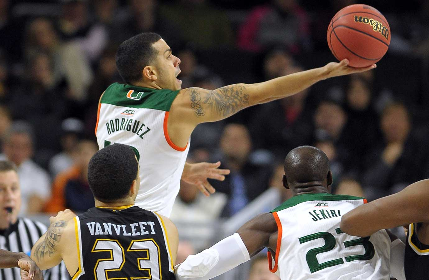 Angel Rodriguez of the Miami Hurricanes scored a career-high 28 points against Wichita State.