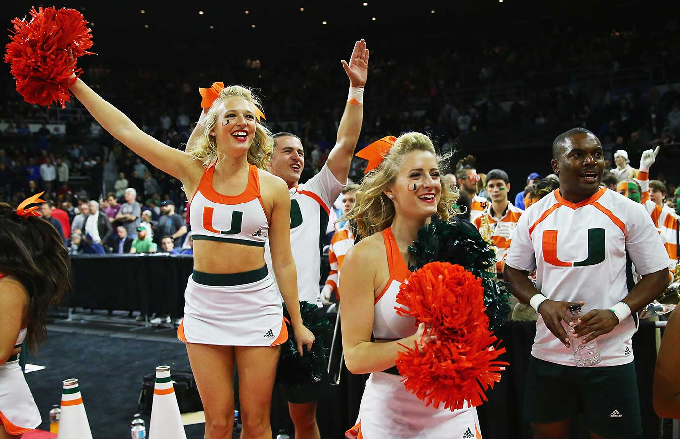 The Miami cheerleaders celebrate after the Hurricanes defeated Wichita State.
