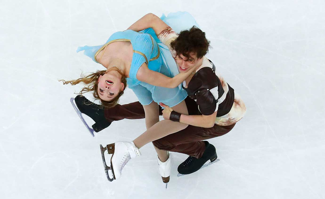 Angelique Abachkina and Louis Thauron from France skate during the Ice Dance Free Dance Skating program of the ISU World Junior Figure Skating Championships 2016.