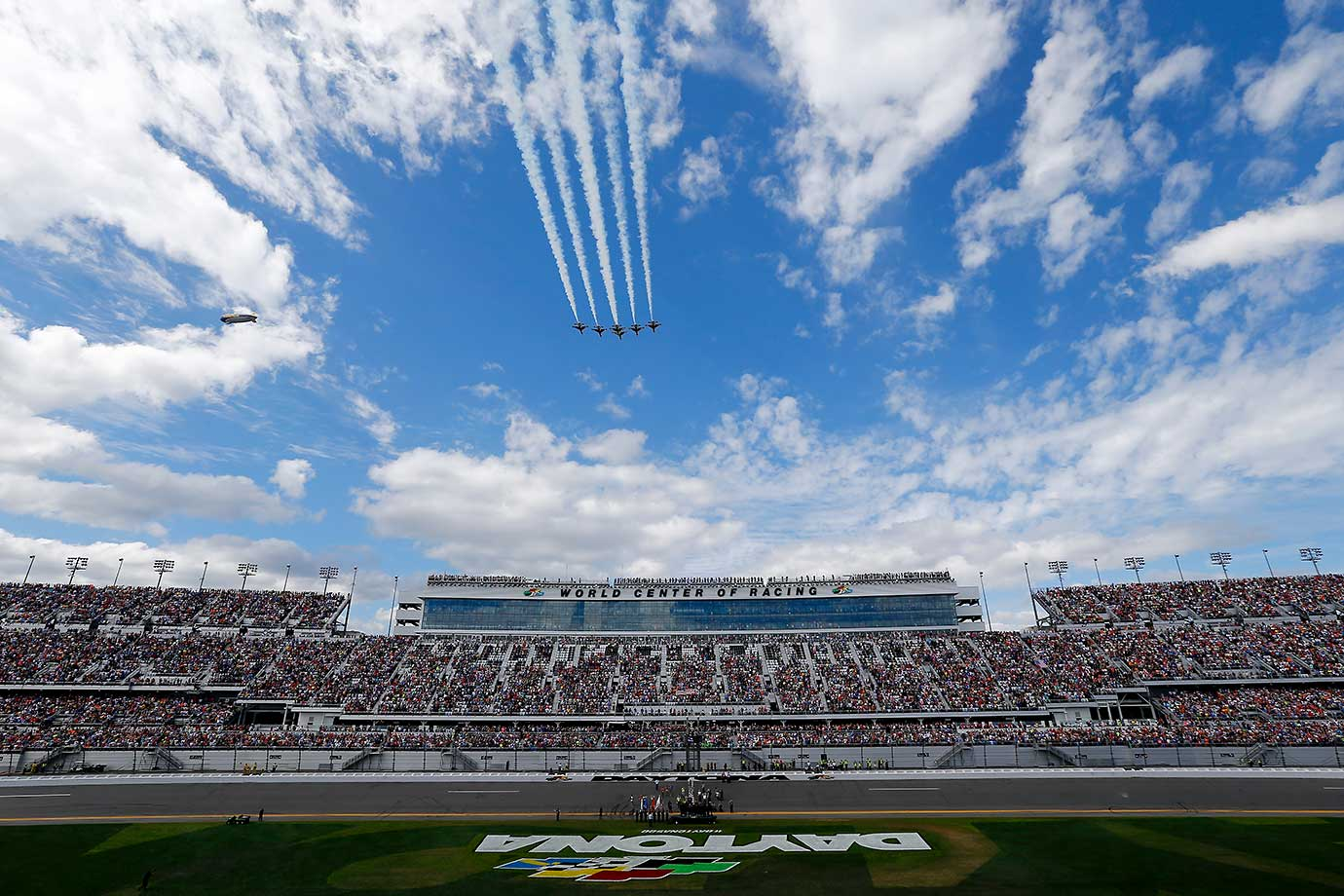 A general view of the speedway during the flyover prior to the Daytona 500.