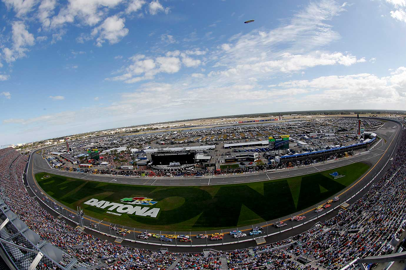 A general view of the speedway as cars race during the Daytona 500.