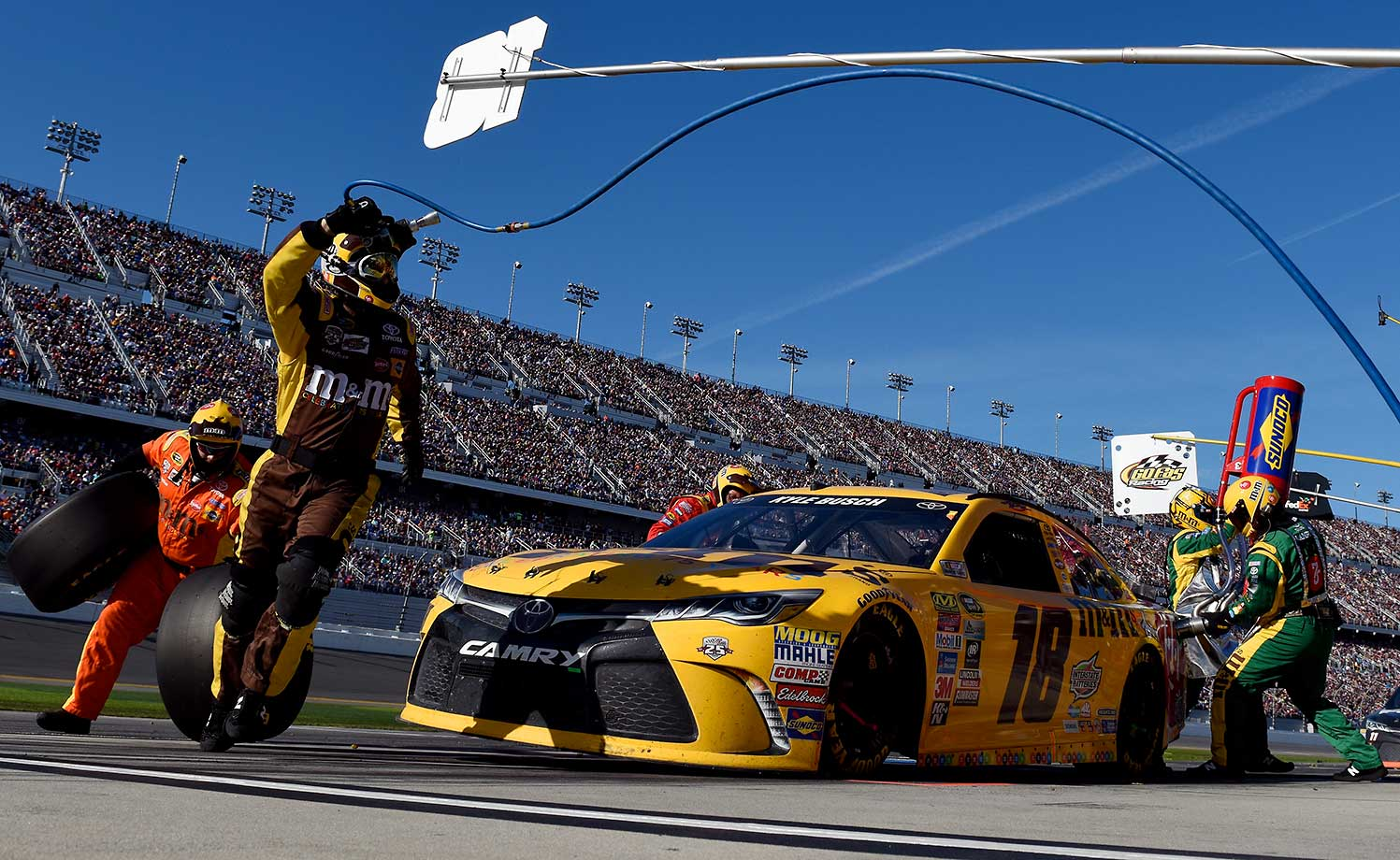 Kyle Busch pits on a day in which he would finish third.