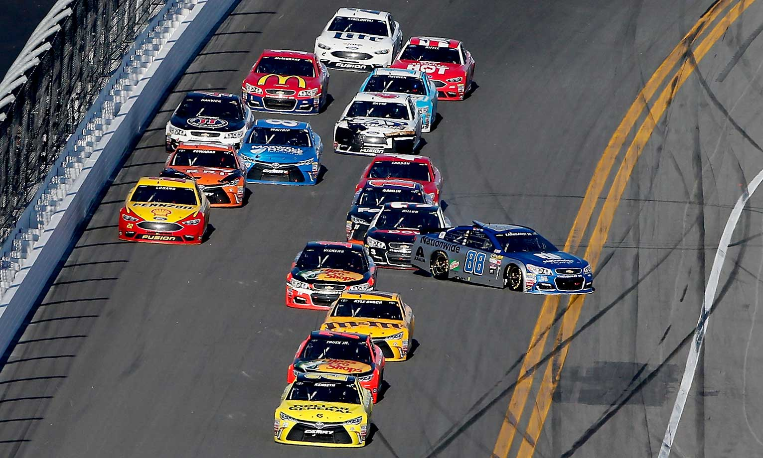 Race favorite Dale Earnhardt Jr. looses control of his car in the waning laps.