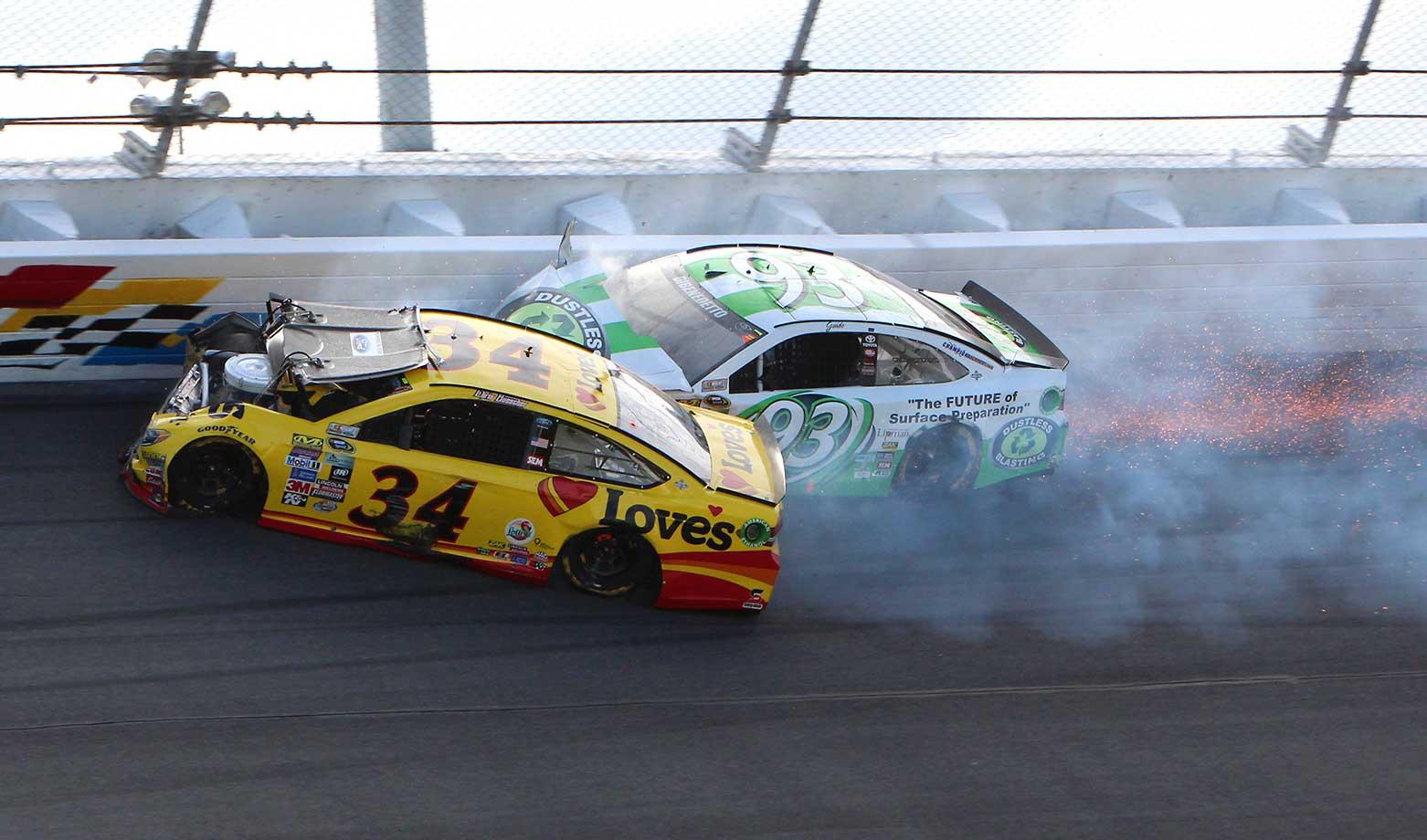 Chris Buescher (34) and Matt DiBenedetto crash during the Daytona 500.
