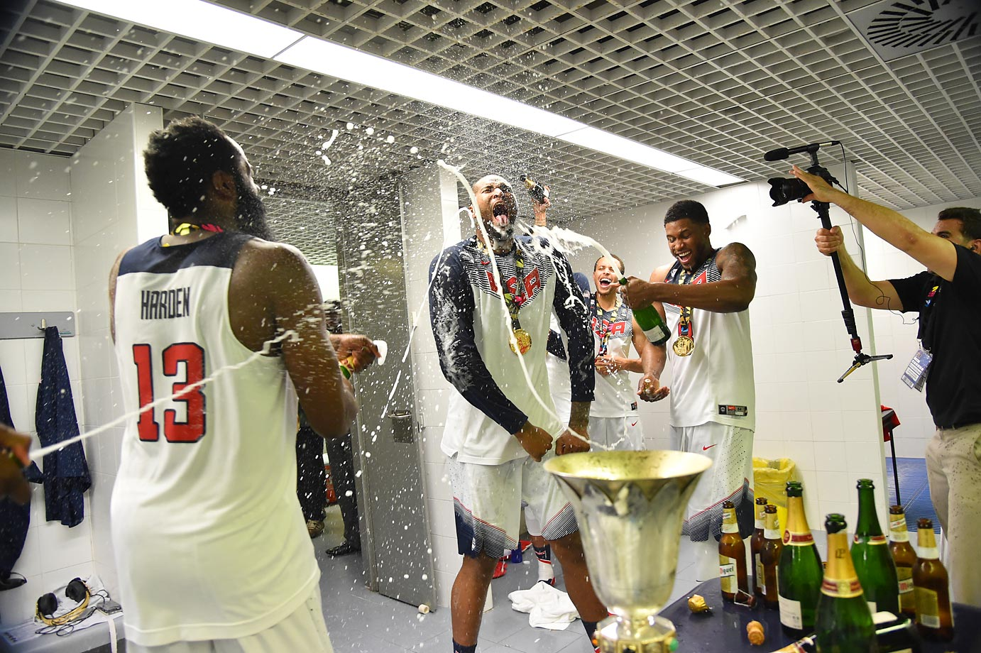 DeMarcus Cousins of the USA Men's National Team celebrates in the locker room.