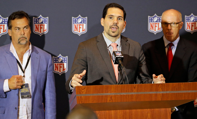 Dean Blandino (middle) at the 2014 NFL Owners Meetings in March.