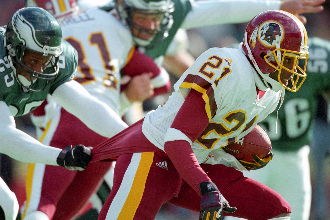 Sanders did not play poorly in his one and only season for Washington, but the Redskins grossly overpaid for the aged cornerback. Owner Dan Snyder gave Sanders an eight-year, $56 million deal -- with an $8 million signing bonus -- but he was not the same player who had made eight out of the previous nine Pro Bowls.