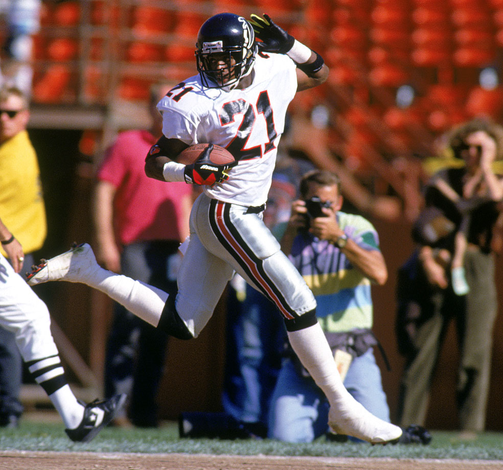 Others wracked up more return numbers, but Deion was also busy as the premier cornerback of his era, so he didn't get as many attempts as other returners. But ''Prime Time'' did return six punts and three kickoffs for touchdowns.