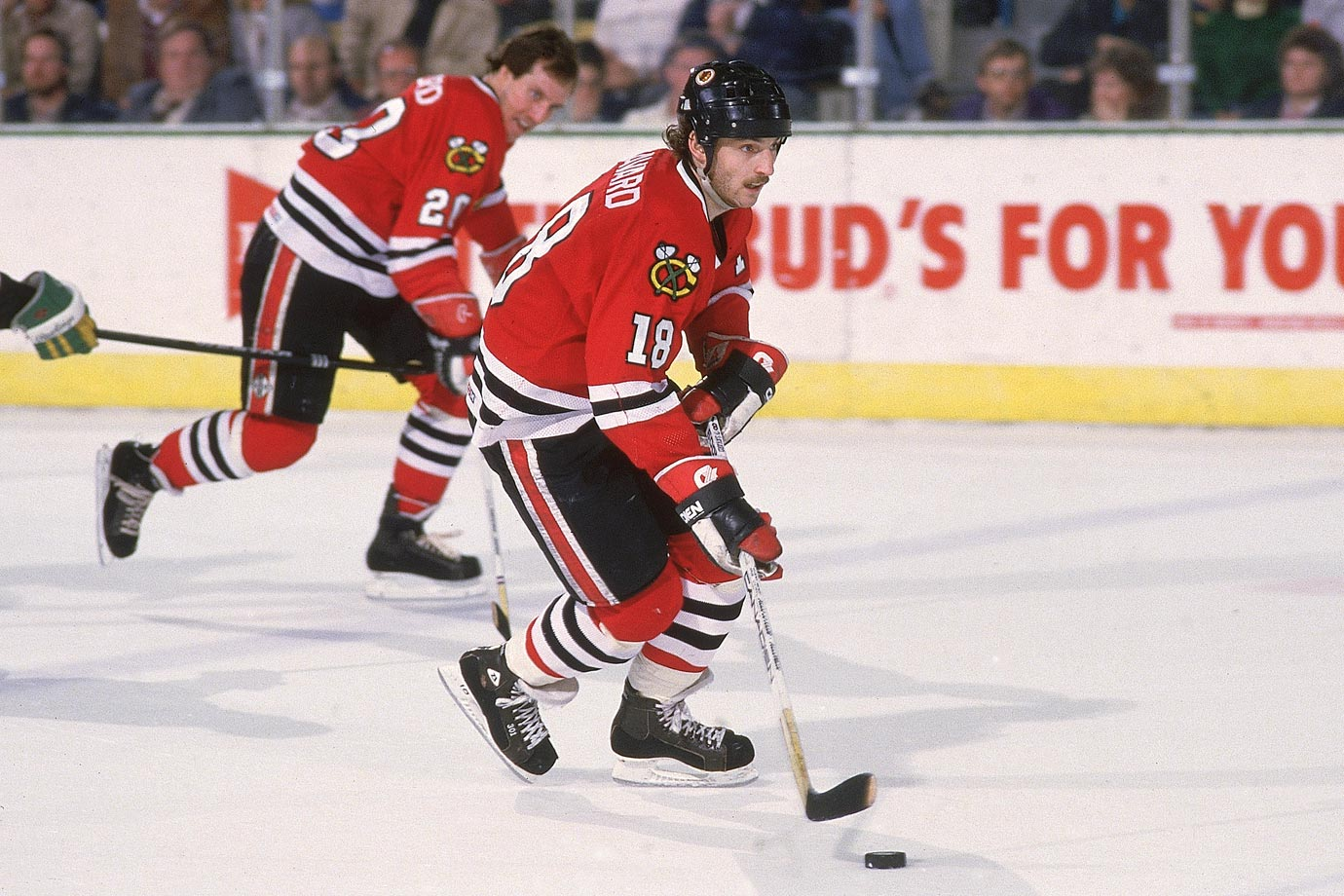 "Drafted third overall by Chicago in 1980, the swift, slick center scored 75 points during his rookie season and followed it with 119 points, the first of five times he would reach or exceed the century mark during his 10 seasons with the `Hawks. Renowned for his ""Savardian Spin-o-Rama"" move, he ranks fourth on the franchise's all-time goals scored list with 377, second in assists (719) and third in points (1,096). He never played in a Stanley Cup Final for the `Hawks, missing their 1992 appearance after his trade to Montreal in 1990, but he finished his career in Chicago and was inducted into the Hockey Hall of Fame in 2000. He also served as the `Hawks coach from 2006-08."