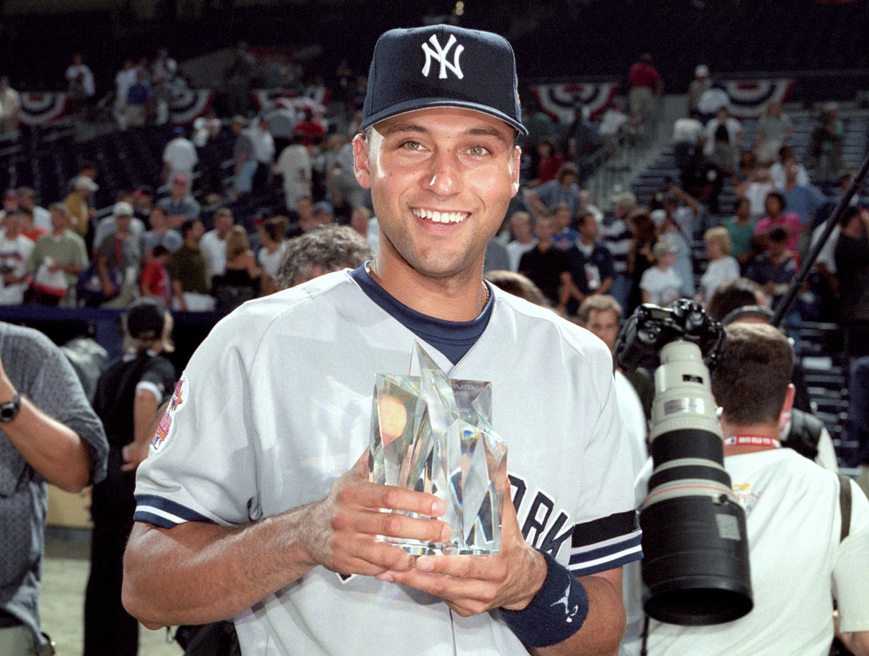 Famously the only player ever to win the All-Star Game and World Series MVP awards in the same season (2000), Jeter's excellent career line is largely due to going 3-for-3 in each of his first two All-Star starts in '00 and '04 and 2-for-2 in his last year. In total, he made the AL team 14 times, appeared in 13 games (missing '11 due to injury) and started nine of them. As for two-time MVP Ripken, he hit .265/.308/.449 in 52 career All-Star plate appearances.