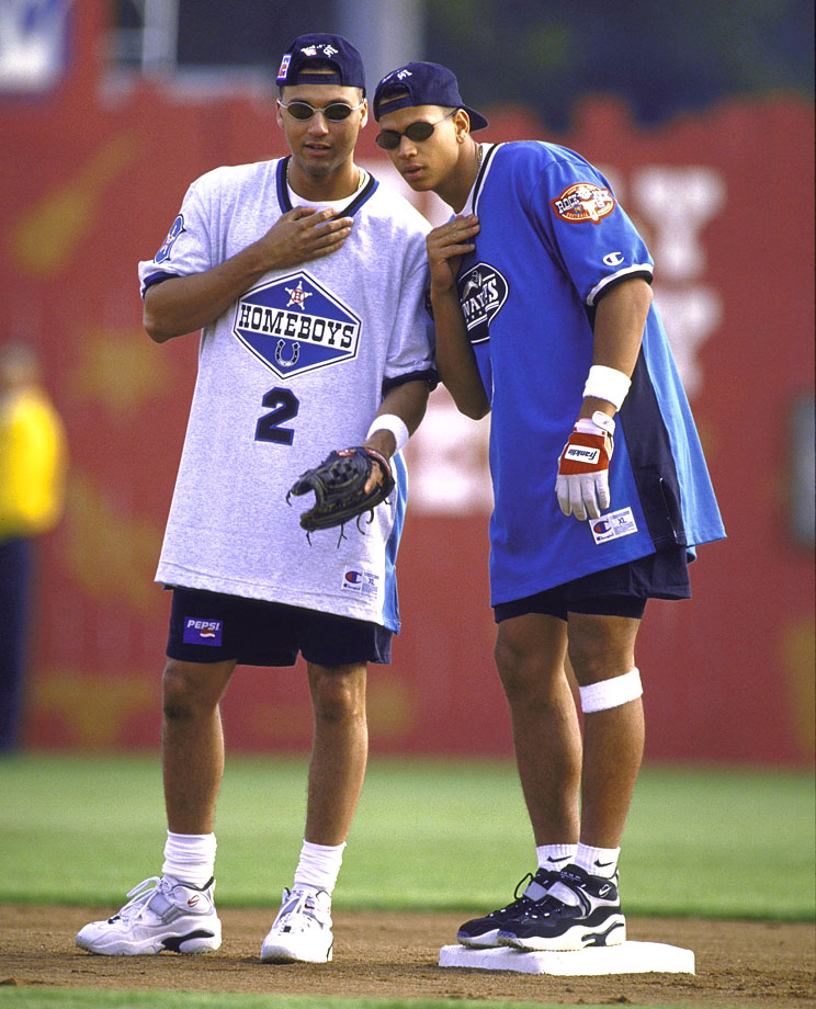 Derek Jeter and Alex Rodriguez play for the Homeboys and Awayboys, respectively, during MTV's Rock N' Jock Softball Challenge in Los Angeles in 1997. (Posted Oct. 3)
