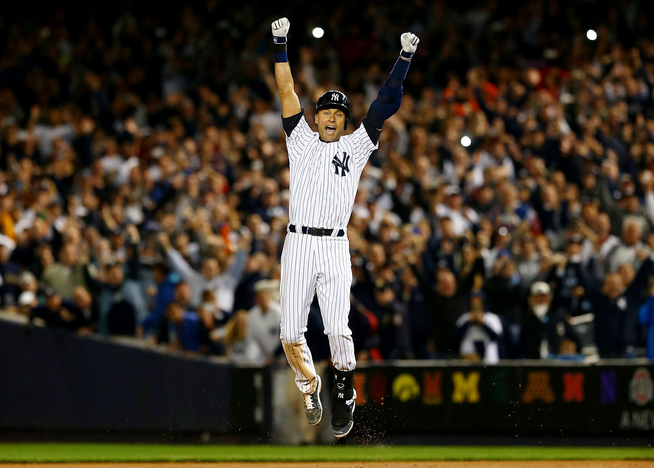 New York Yankees shortstop Derek Jeter has a walk-off single against the Baltimore Orioles in his final home game.