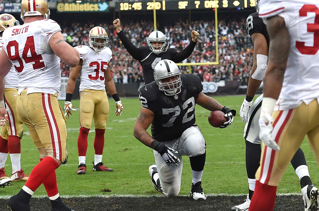 Offensive lineman Donald Penn scored on a three-yard reception from Derek Carr in Oakland's 24-13 upset of the San Francisco 49ers in Week 14 of the 2014 NFL season, raising his career total to three scores. His earlier TDs came when he was a lineman with the Tampa Bay Buccaneers.