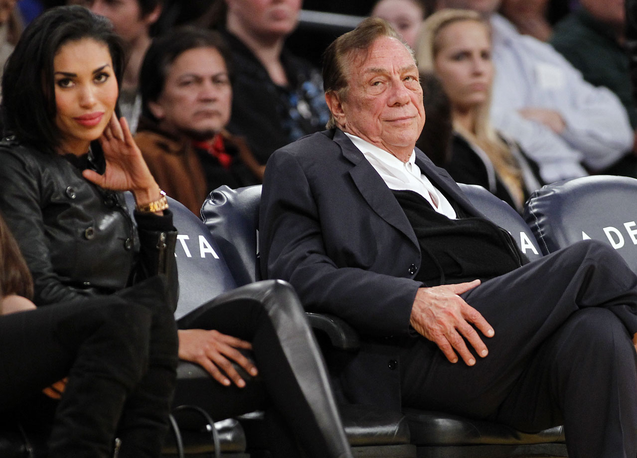 The Los Angeles Clippers owner came under fire in April 2014 when an audio recording surfaced in which he could allegedly be heard making a series of racist remarks to his girlfriend, V. Stiviano (left). She was scolded for bringing African-Americans to Clippers games and for posting photos of her and African-Americans to her Instagram account.  Sterling has filed two multi-billion dollar lawsuits against the NBA, arguing that the league and its officials were hypocritical in forcing him out as owner for his racially-insensitive comments.