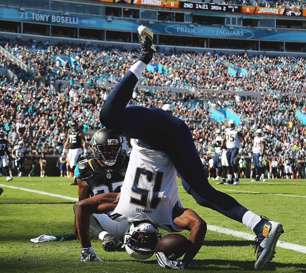 Dontrelle Inman of the San Diego Chargers scores a touchdown against the Jacksonville Jaguars.