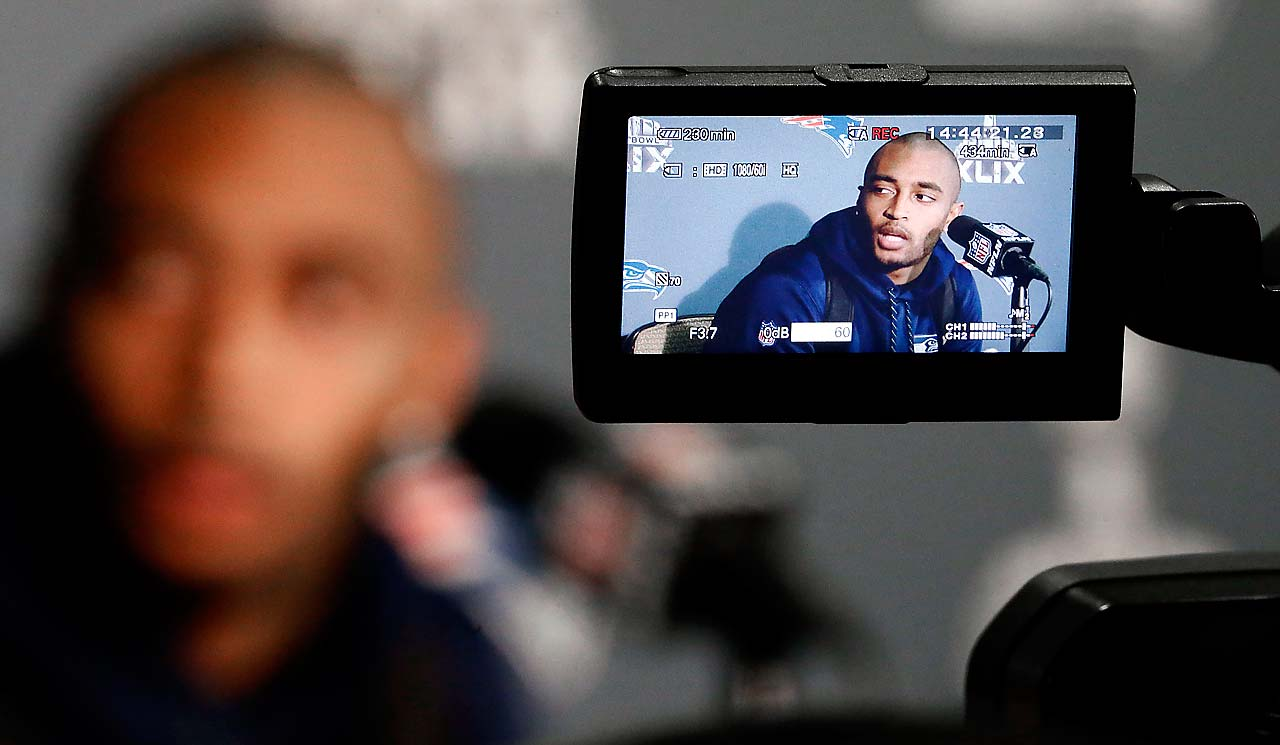 Seattle receiver Doug Baldwin at a Monday press conference