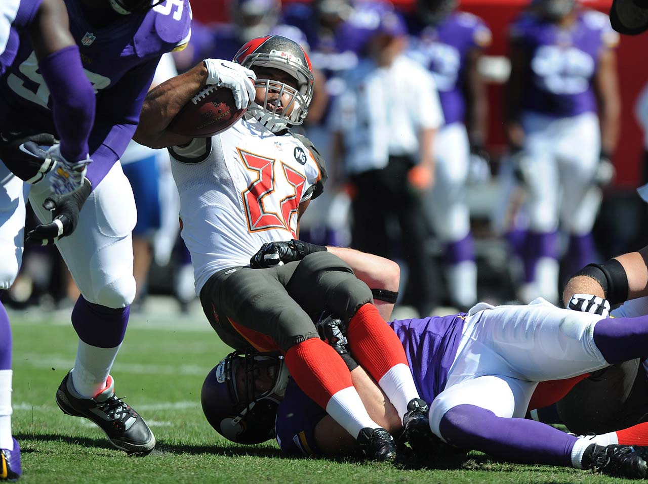 Running back Doug Martin of the Tampa Bay Buccaneers is stopped on a carry against the Minnesota Vikings.