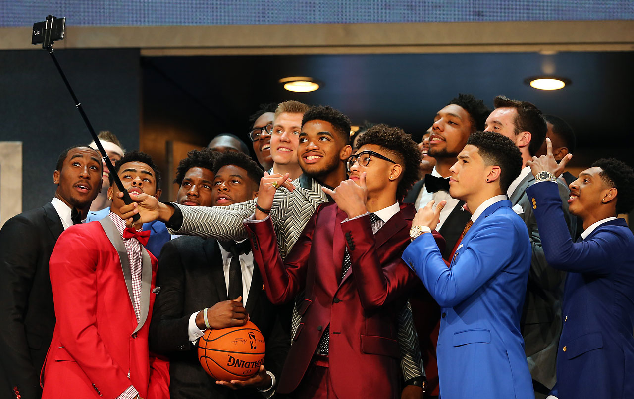 Karl-Anthony Towns holds a selfie stick with other top prospects before the start of the 2015 NBA Draft at the Barclays Center in Brooklyn.