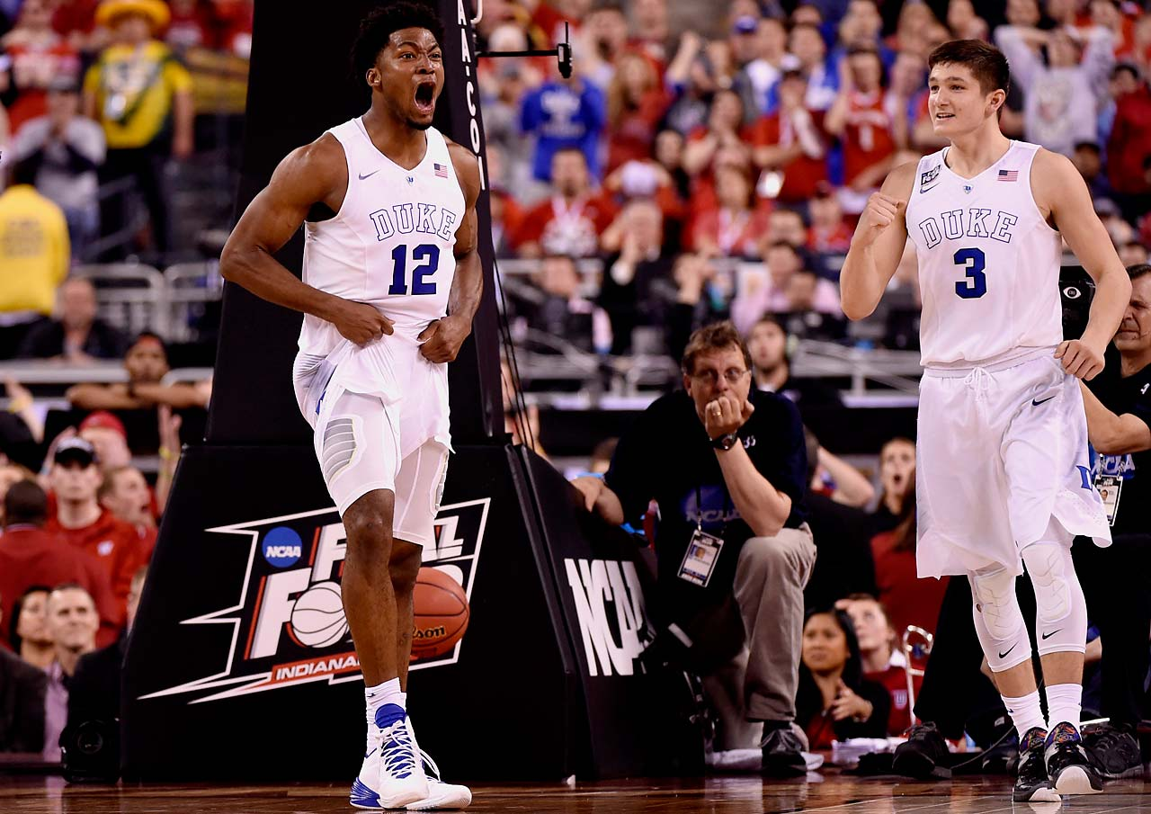 Justise Winslow and Grayson Allen celebrate a key play during Duke's 68-63 win. Winslow and Allen finished with 11 and 16 points, respectively.
