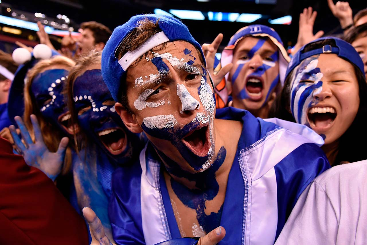 Dukes fans enjoyed their team's 68-63 victory with cheers and body paint.