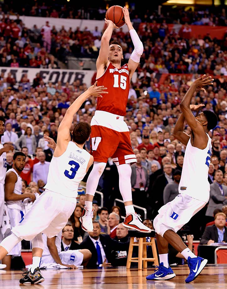 Wisconsin forward Sam Dekker, one of the NCAA Tournament's best players through five games, shot 6-15 Monday including 0-6 from 3-point range, scoring 12 points.