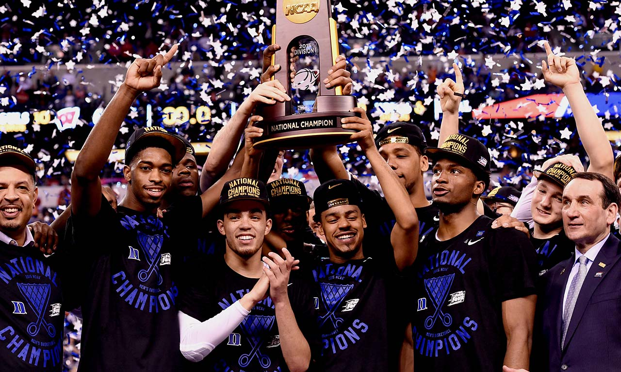 Guards Tyus Jones and Quinn Cook were front and center for Duke this season and also on the podium after Monday's game.