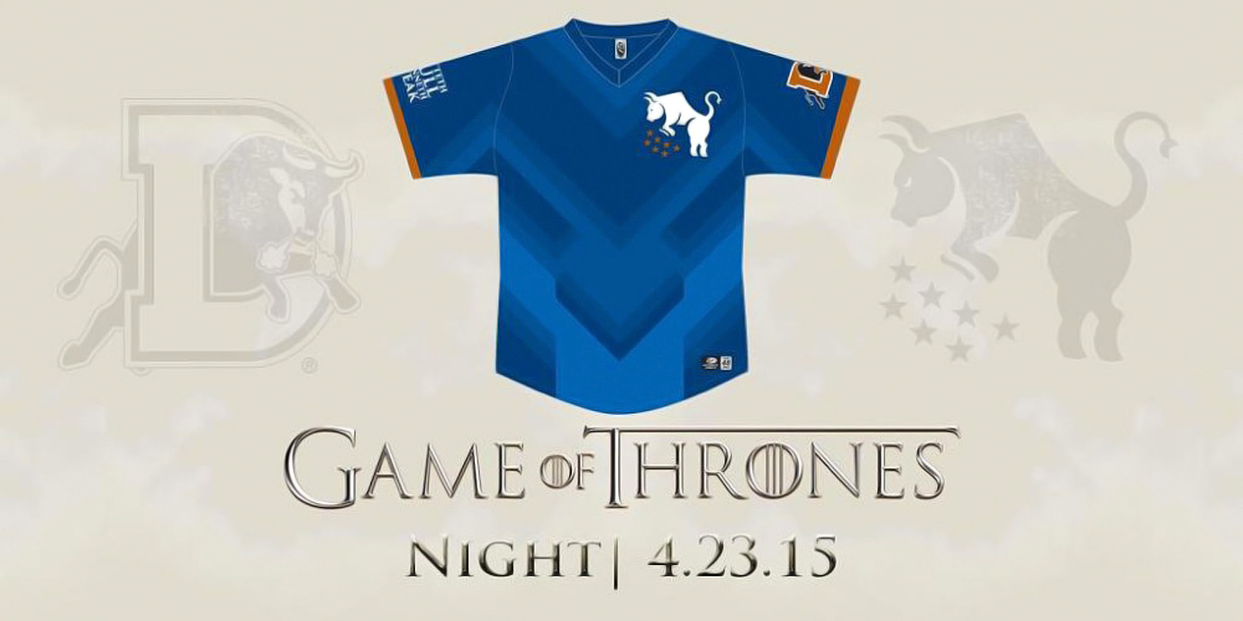 "The Triple A Durham Bulls, or ""Bulls of House Durham,"" will wear special Game of Thrones-themed jerseys for their game on April 23, 2015. The sleeve will have the phrase, ""hitteth bull, winneth steak"" and chest will feature a special logo, or ""house sigil."" After the game, the jerseys will be auctioned off to support a local youth baseball program."