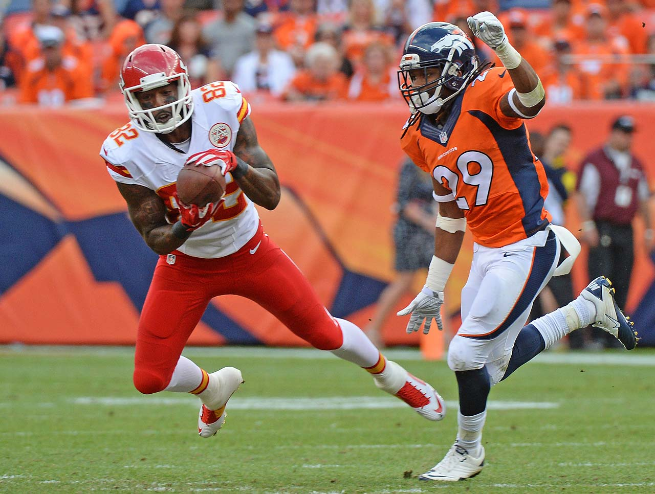 Back after his one-game suspension, Dwayne Bowe had only three catches (40 yards) in a loss to Denver.