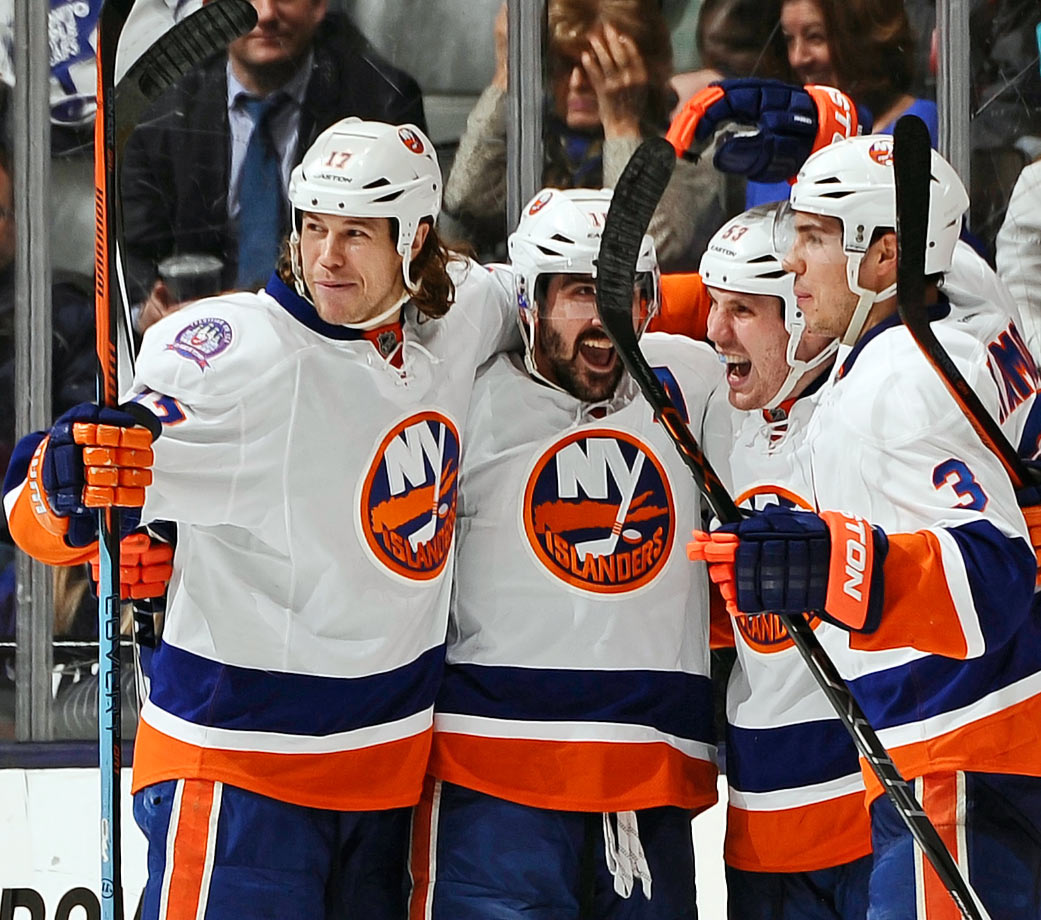 Nicknamed by broadcaster and former Islander Butch Goring, New York's Energy unit of Matt Martin, Casey Cizikas and Cal Clutterbuck bring the hits (a combined 829 during the 2014-15 season;  with Martin and Clutterbuck finishing 1-2 in the league), toughness, speed, pressure and a touch of scoring. Hockey Night in Canada's Don Cherry was so impressed he pronounced them the best fourth line of all time.