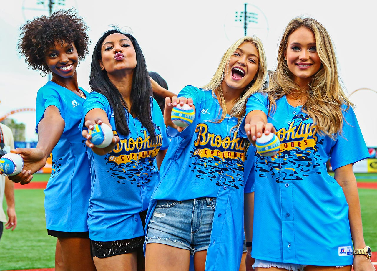 SI Swimsuit models Adaora Akubila, Ariel Meredith, Gigi Hadid and Hannah Davis were in Brooklyn on August 22 to throw out the first pitch at the Cyclones game.