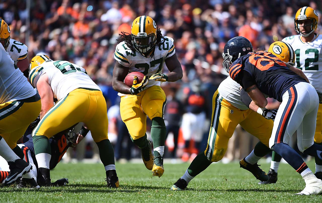 Eddie Lacy picked up right where he left off last year, bulldozing his way through the opposition.