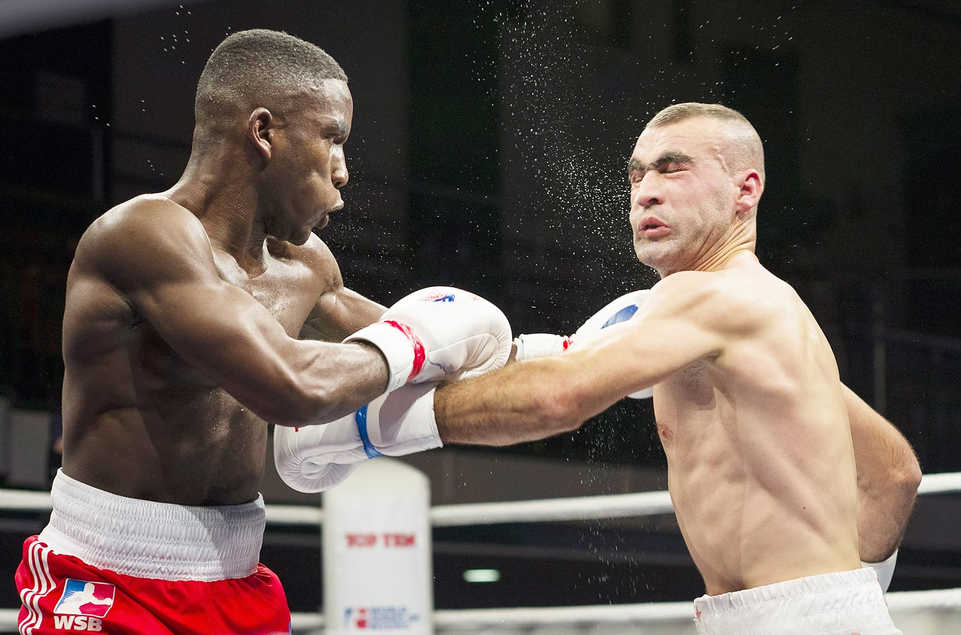 Ekow Essuman (left) of British Lionhearts during his welterweight fight against Sofiane Tabi of Algeria Desert Hawks in London.