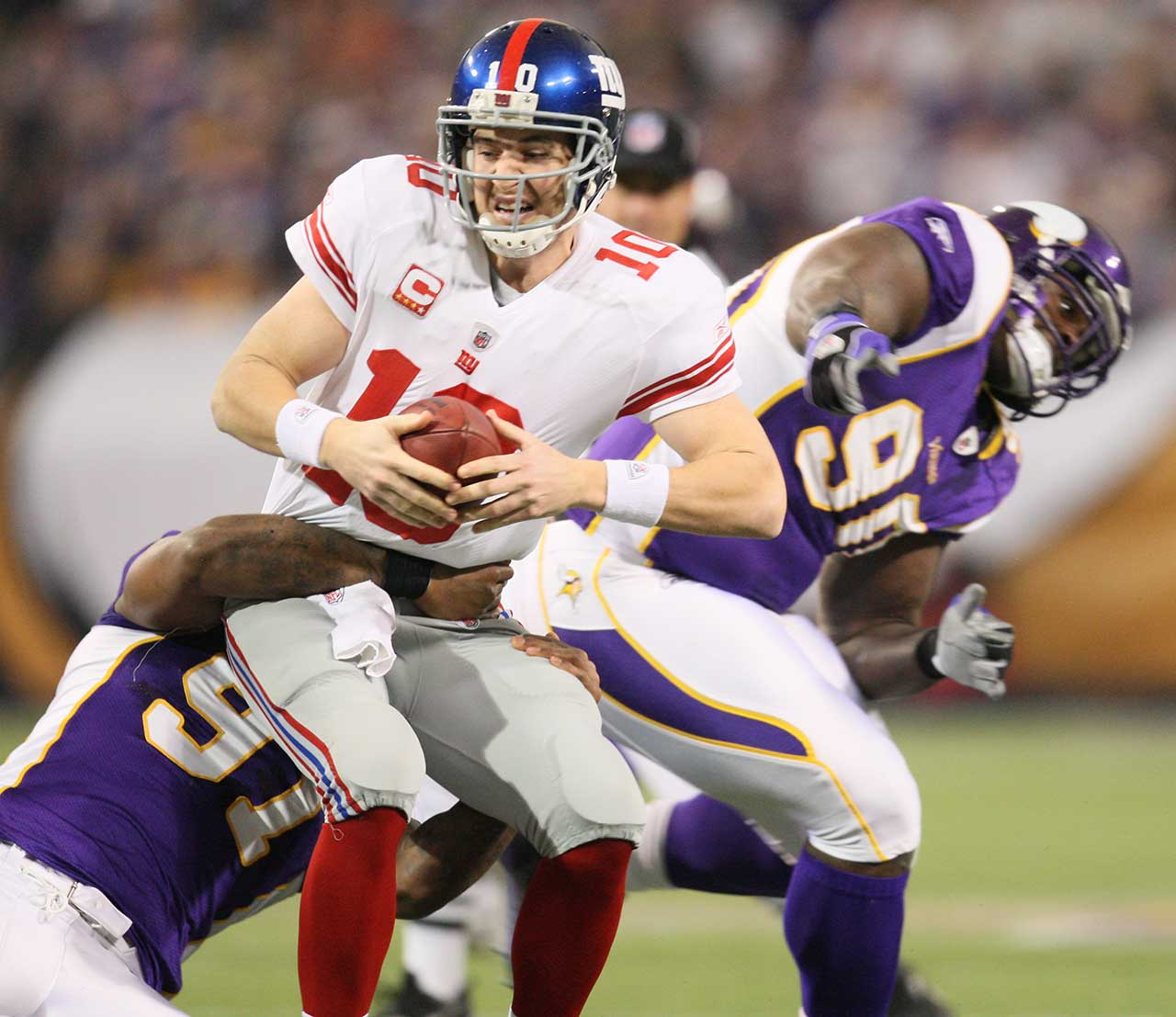 Eli Manning has played on his birthday once, losing 44-7 to Brett Favre (four TD passes) and the Vikings on a day when Eli completed 17 of 23 passes for 141 yards and one interception. The Giants lost for the eighth time in 11 games and missed the playoffs. It was the worst passing yardage game of the year for Eli, who turned 29 and was replaced by David Carr in the second half.