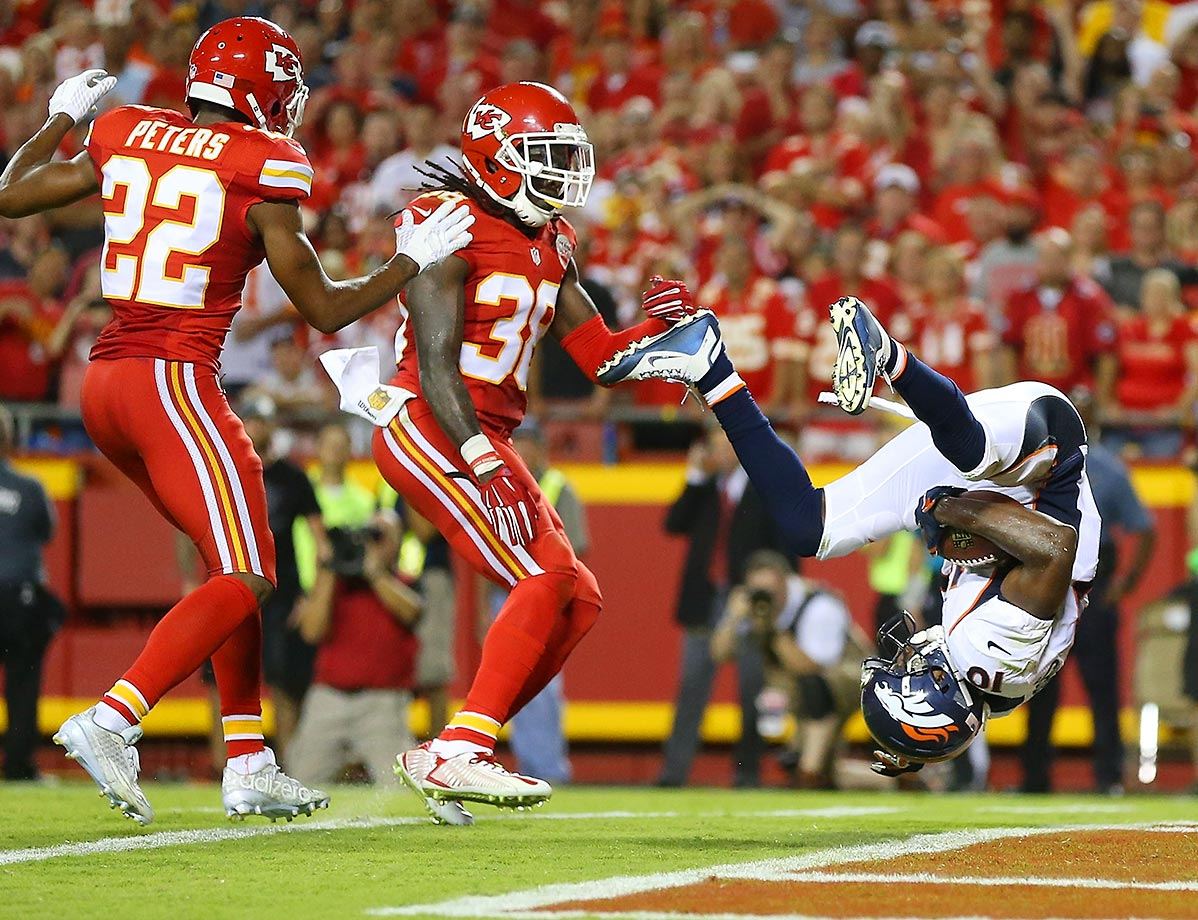 Emmanuel Sanders somersaults into the endzone.