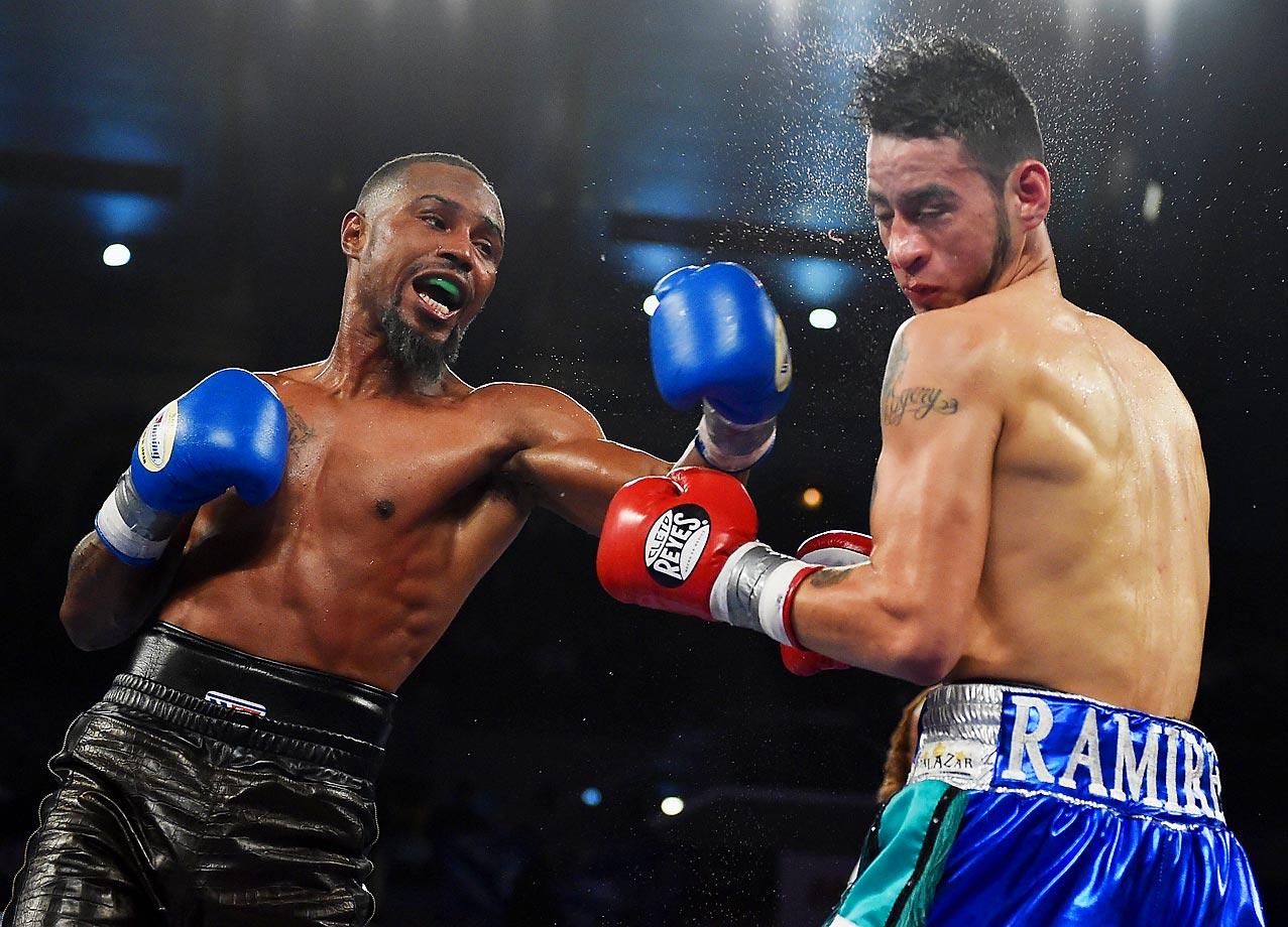 Eric Hunter punches Daniel Ramirez during their junior lightweight fight at Boardwalk Hall Arena.