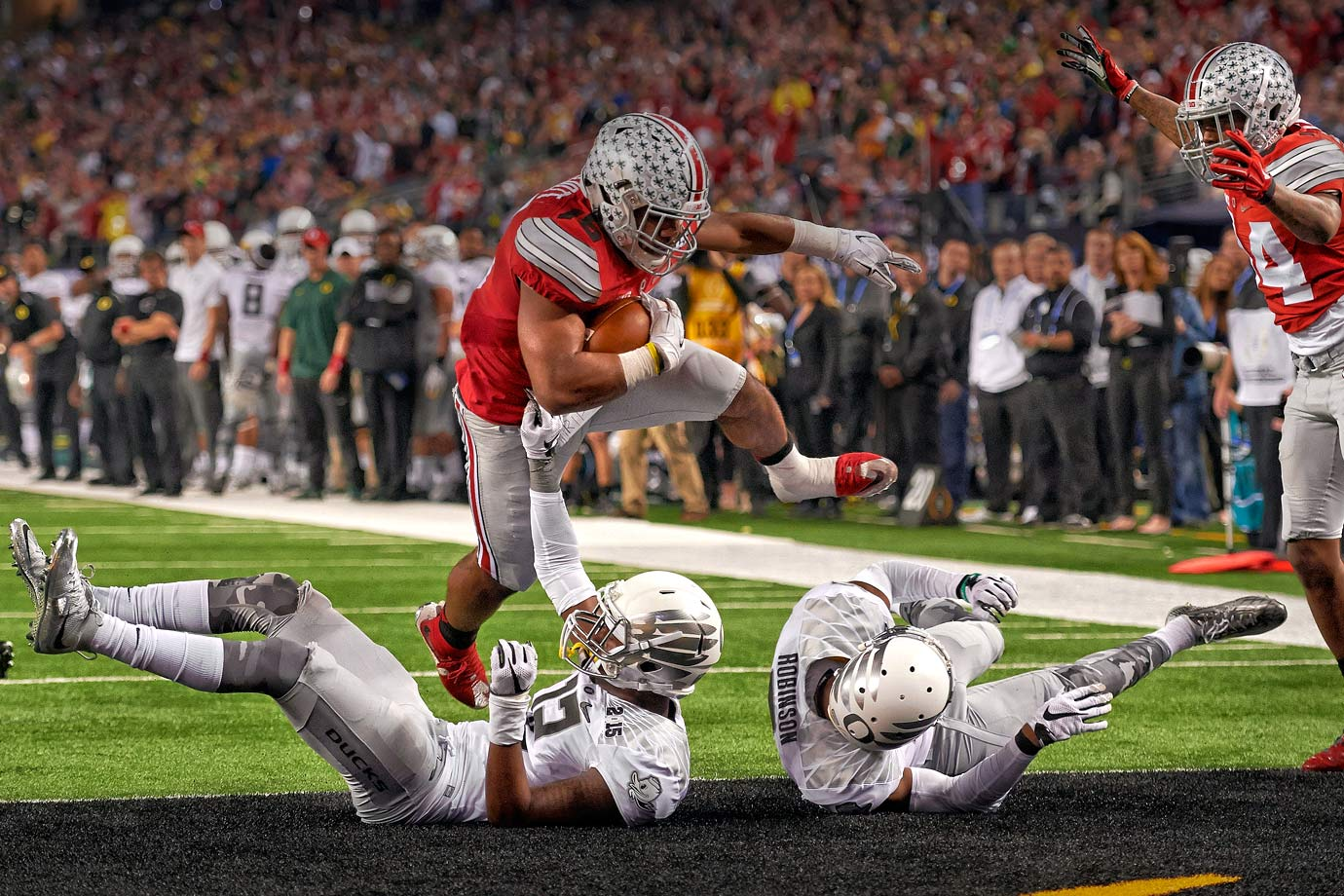 No player shined brighter on the biggest stage than the Buckeyes RB, who had 488 yards in the playoff.
