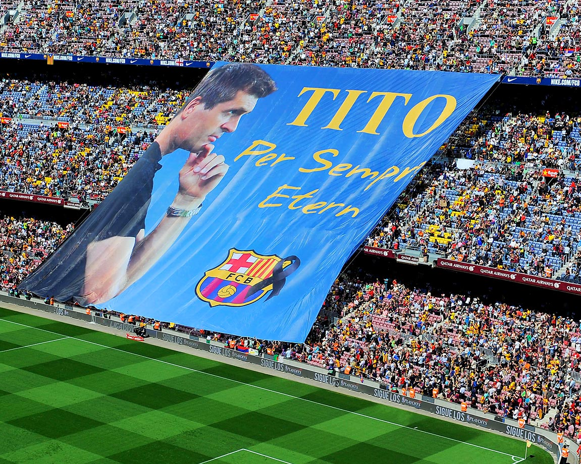 FC Barcelona fans display a huge banner in memory of former head coach Tito Vilanova.