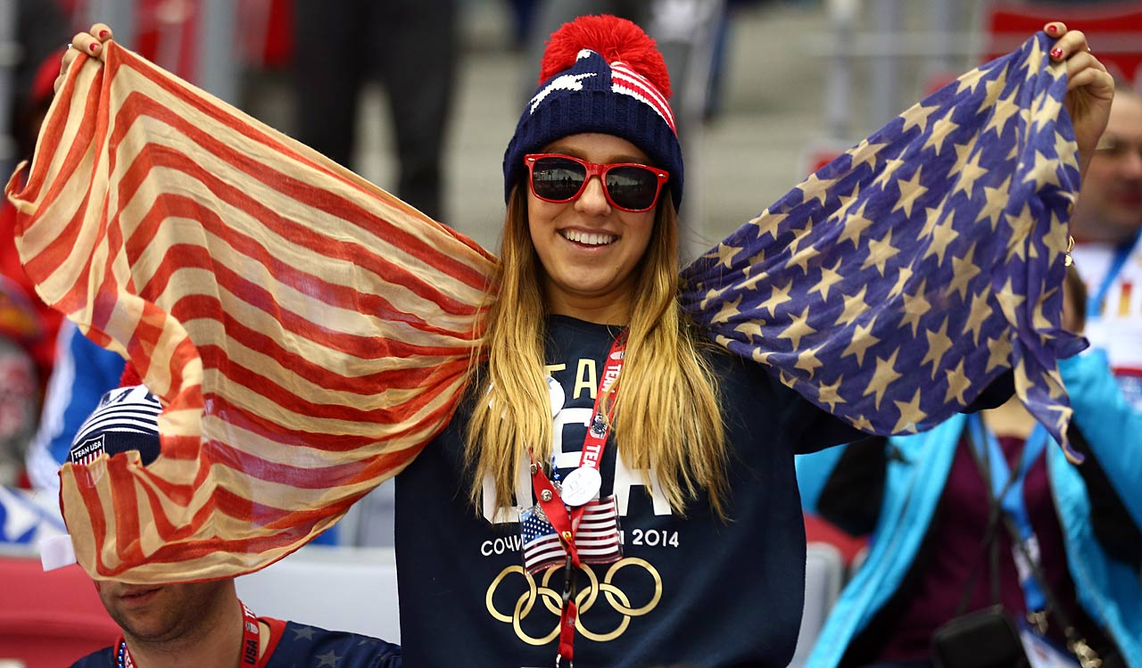 An American fan shows her colors during the U.S.-Russian hockey game.