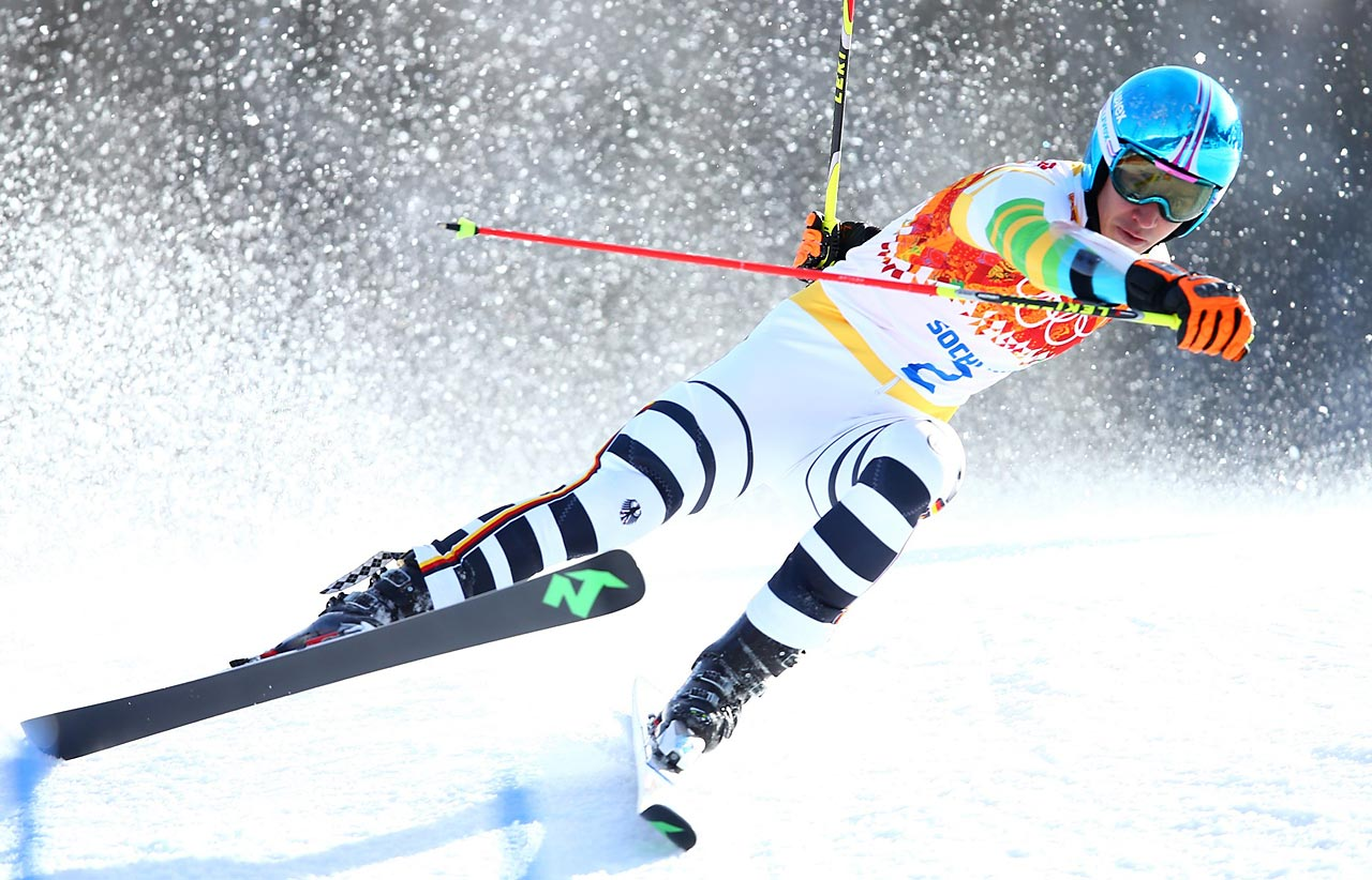 Felix Neureuther of Germany competes in the men's giant slalom.