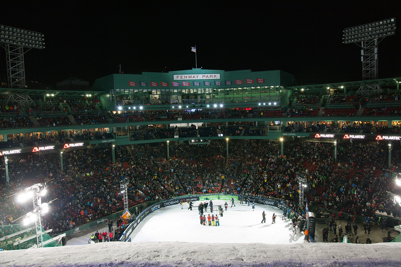 The crowd at Fenway Park for the snowboard Big Air competition, seen from the launch pad level of the jump.