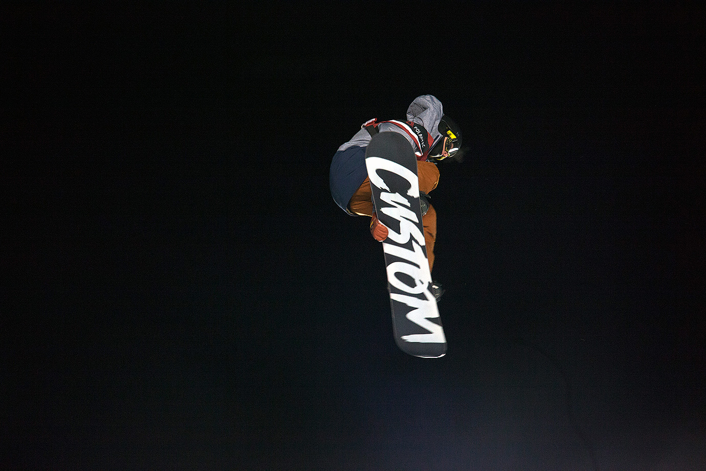Silver medalist Michael Ciccarelli goes airborne during the second round of the snowboard Big Air competition.