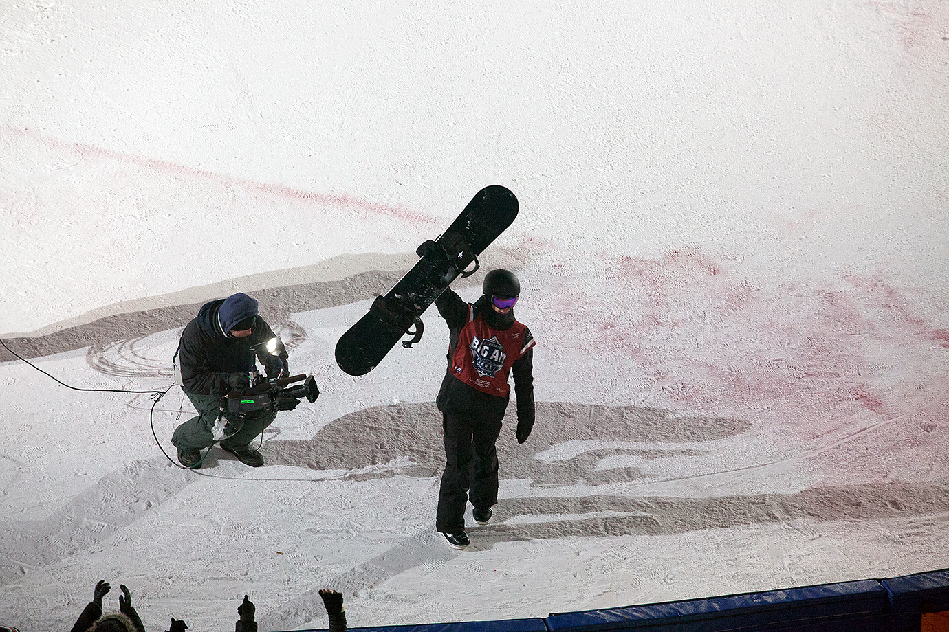 Max Parrot acknowledges the Fenway crowd after completing his second run, which earned him the top score of the competition.