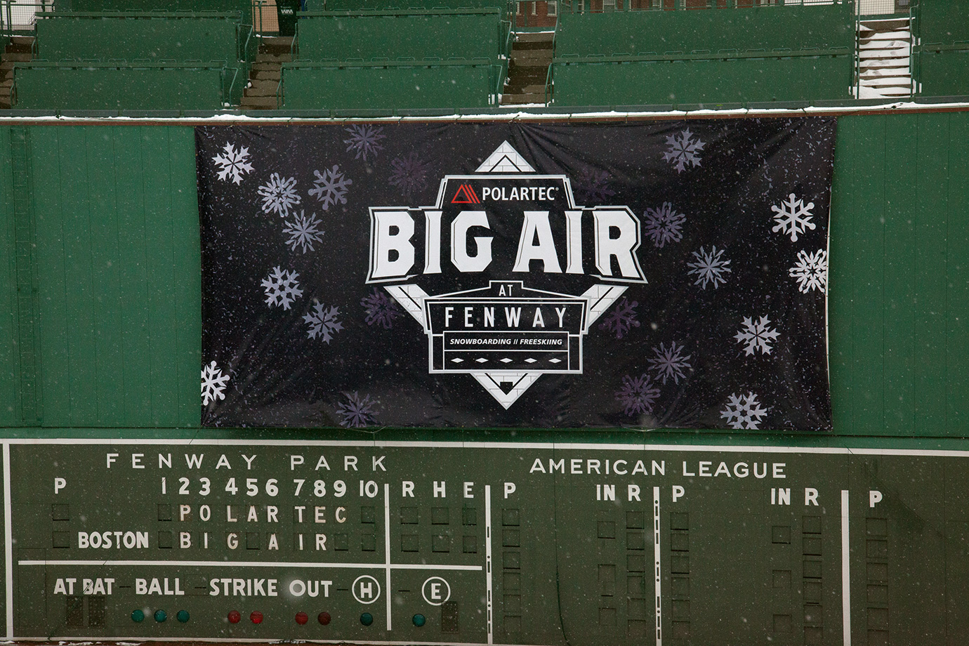 Fenway Park's Green Monster dressed up for the Polartec Big Air competition.
