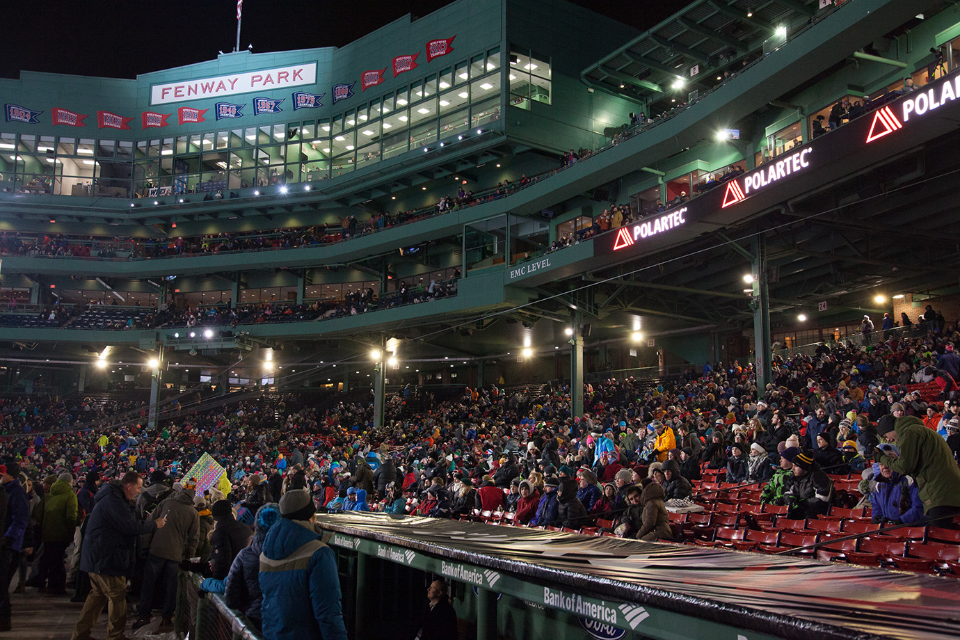The crowd at Fenway Park grows even larger for the freeskiing competition on Day 2.
