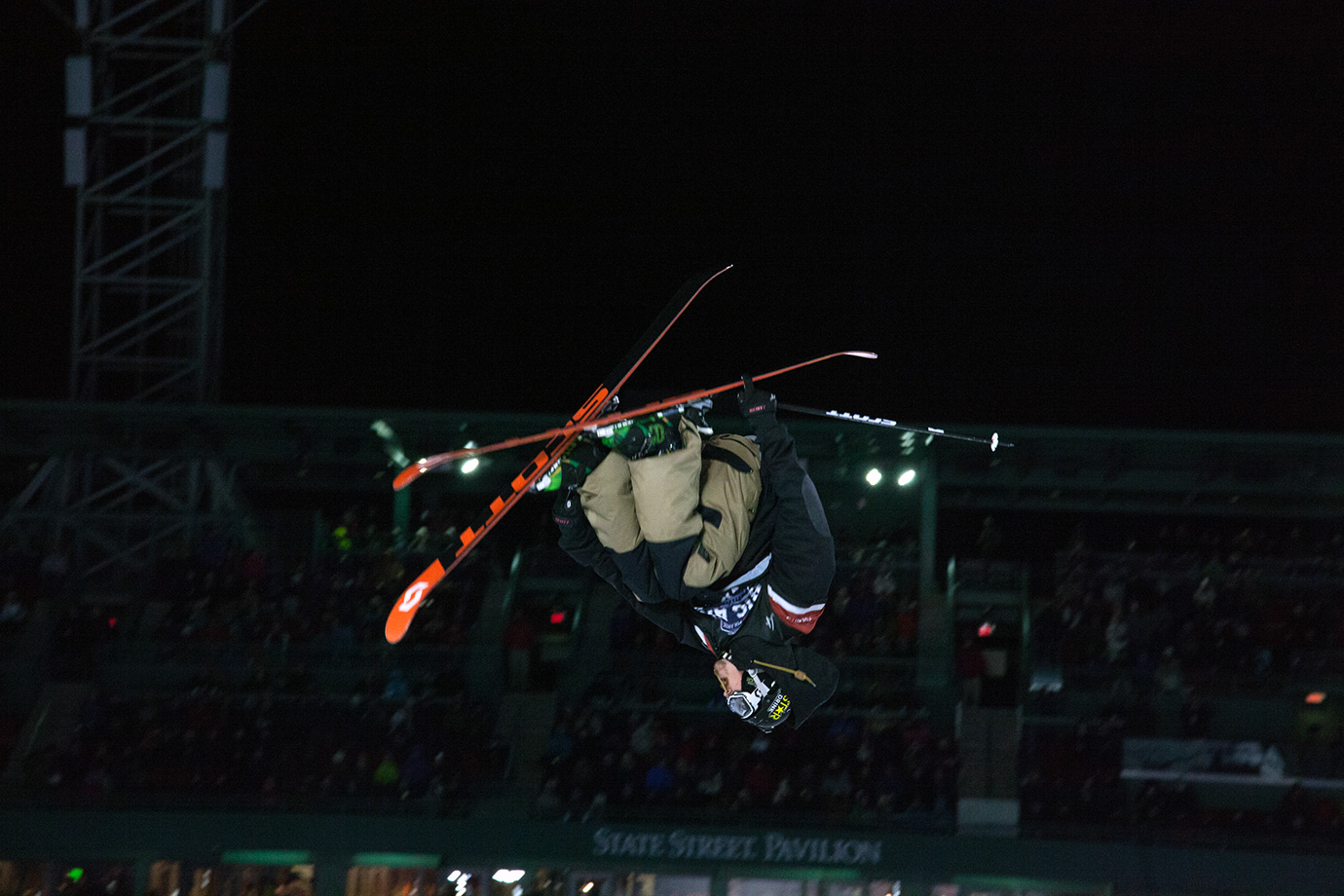 Klaus Finne catches air during the skiing Big Air final.