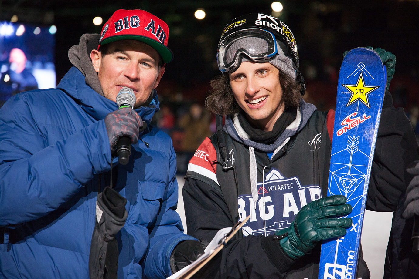 Men's ski Big Air winner Vincent Gagnier during his interview with Fenway Big Air and X Games field reporter DC.