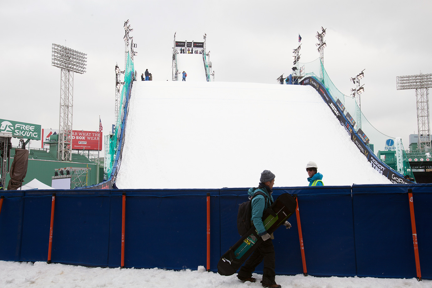 Athletes practice on the ramp, sizing up the man-made jump and figuring out their plans for the coming event.